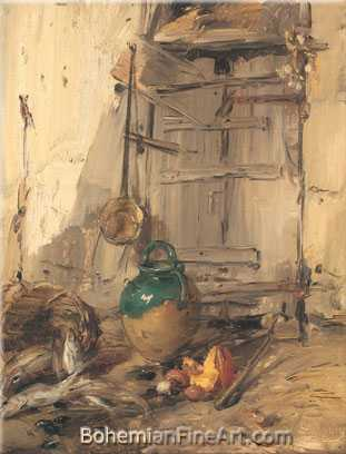 Antoine Vollon, Courtyard with Basket of Fish Fine Art Reproduction Oil Painting