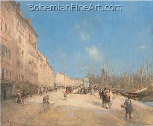 Antoine Vollon, Along the Docks, Marseille Fine Art Reproduction Oil Painting