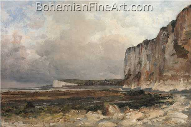 Antoine Vollon, The Cliffs Along the Shore at Le Treport Fine Art Reproduction Oil Painting