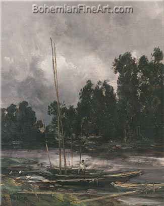 Antoine Vollon, Boats Moored on the River Oise Fine Art Reproduction Oil Painting