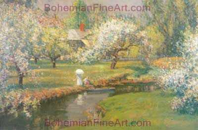 Theodore Wendel, Lady with a Parasol by a Stream Fine Art Reproduction Oil Painting