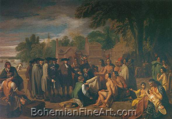 Benjamin West, Penn's Treaty with the Indians Fine Art Reproduction Oil Painting