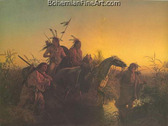 Carl Wimar, The Captive Charger Fine Art Reproduction Oil Painting