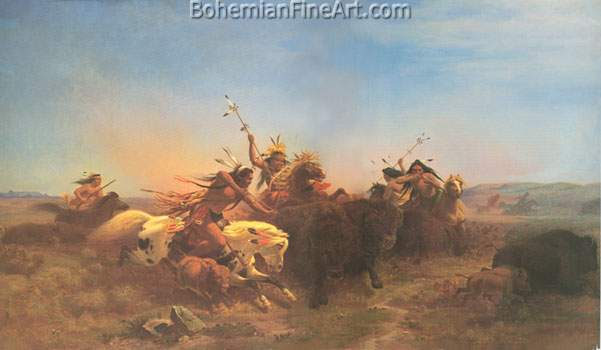 Carl Wimar, The Buffalo Hunt Fine Art Reproduction Oil Painting