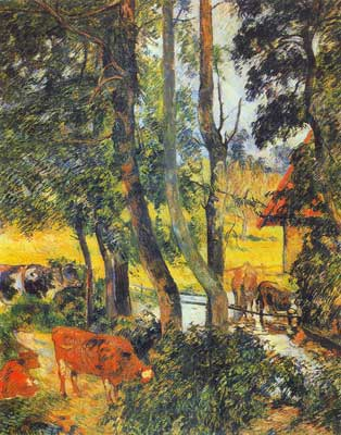Paul Gauguin, Cattle Drinking Fine Art Reproduction Oil Painting