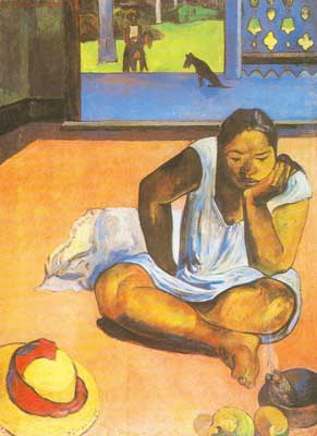 Paul Gauguin, Brooding Woman (Te Faaturuma) Fine Art Reproduction Oil Painting