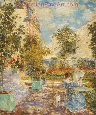 Childe Hassam, In a French Garden Fine Art Reproduction Oil Painting
