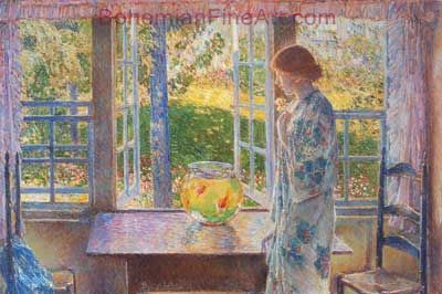 Childe Hassam, The Goldfish Window Fine Art Reproduction Oil Painting