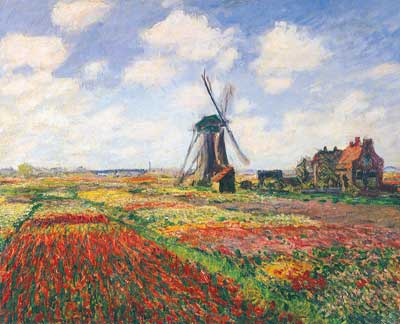 Claude Monet, Tulip Fields with the Rijnsburg Windmill Fine Art Reproduction Oil Painting