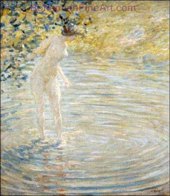 Robert Reid, Bathing in a Stream Fine Art Reproduction Oil Painting