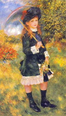 Pierre August Renoir, Young Girl with a Parasol Fine Art Reproduction Oil Painting