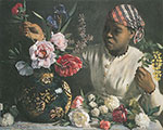Frederic Bazille, African Woman with Peonies Fine Art Reproduction Oil Painting