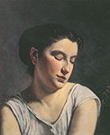 Frederic Bazille, Young Woman with Lowered Eyes Fine Art Reproduction Oil Painting