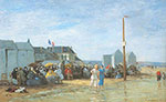 Eugene Boudin, The Bathing Hour, Trouville Fine Art Reproduction Oil Painting