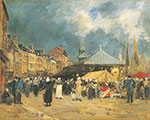Eugene Boudin, The Fishmarket at Trouville Fine Art Reproduction Oil Painting