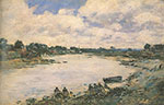 Eugene Boudin, Washerwomen on the Banks of the River Torques Fine Art Reproduction Oil Painting