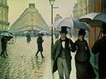 Gustave Caillebotte, Rue de Paris, Wet Weather Fine Art Reproduction Oil Painting