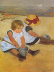 Mary Cassatt, Children Playing on the Beach Fine Art Reproduction Oil Painting