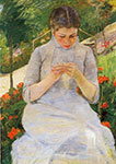 Mary Cassatt, Young Woman Sewing Fine Art Reproduction Oil Painting