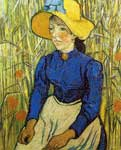 Vincent Van Gogh, Young Peasant Woman with Straw Hat Fine Art Reproduction Oil Painting
