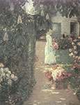 Childe Hassam, Gathering Flowers in a French Garden Fine Art Reproduction Oil Painting