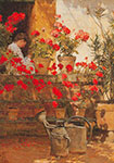 Childe Hassam, Geraniums Fine Art Reproduction Oil Painting
