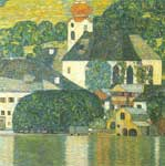 Gustave Klimt, Church at Unterach on the Attersee Fine Art Reproduction Oil Painting