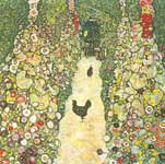 Gustave Klimt, Garden Path with Chickens Fine Art Reproduction Oil Painting