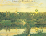 Isaac Levitan, Secluded Monastry Fine Art Reproduction Oil Painting