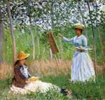 Claude Monet, Suzanne Reading and Blanche Painting by the Marsh Fine Art Reproduction Oil Painting