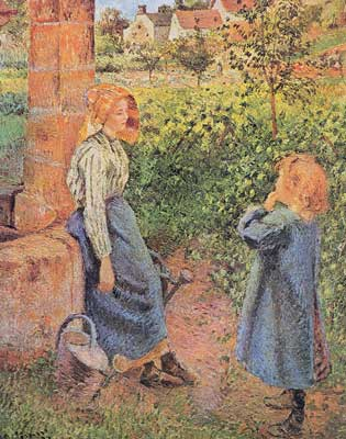 Camille Pissarro, Woman and Child at a Well Fine Art Reproduction Oil Painting