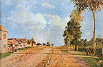 Camille Pissarro, The Road to Rocquecourt Fine Art Reproduction Oil Painting