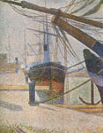 Georges Seurat, Dockside at Honfleur Fine Art Reproduction Oil Painting