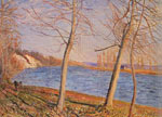 Alfred Sisley, Riverbank at Veneaux Fine Art Reproduction Oil Painting