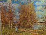 Alfred Sisley, The Small Meadows in Spring Fine Art Reproduction Oil Painting