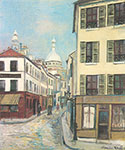 Maurice Utrillo, Rue St Rustique at Montmartre Fine Art Reproduction Oil Painting