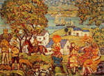 Maurice Prendergast, Landscape Figures Cottages And Boats Fine Art Reproduction Oil Painting