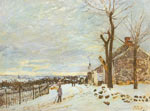 Alfred Sisley, Snowy Weather at Veneaux Nadon Fine Art Reproduction Oil Painting